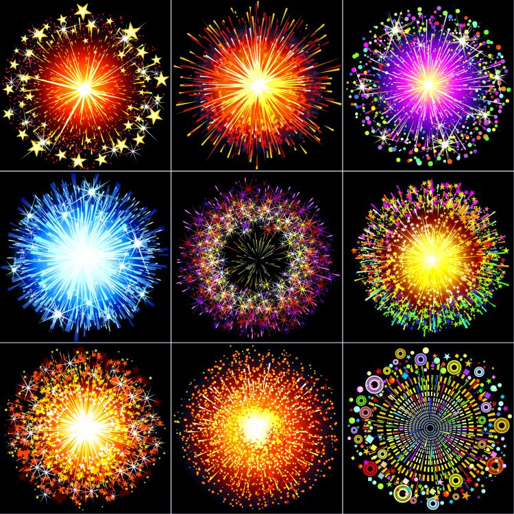 free vector Colorful fireworks 02 vector