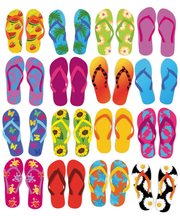 free vector Colorful Flip Flops Vector Set