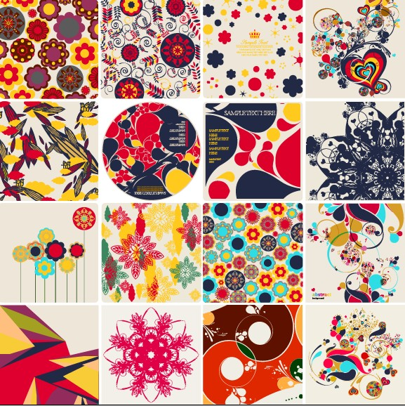 free vector Colorful floral elements vector