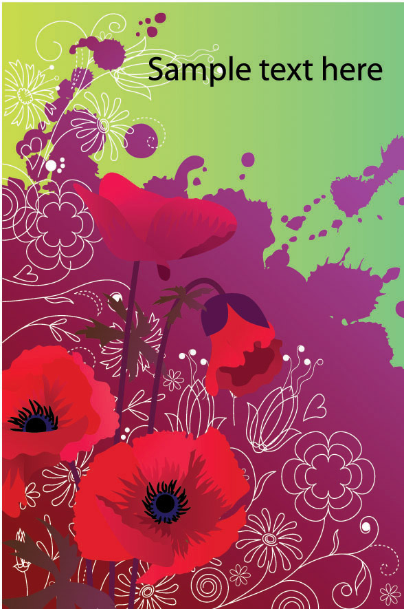 free vector Colorful flower card background vector