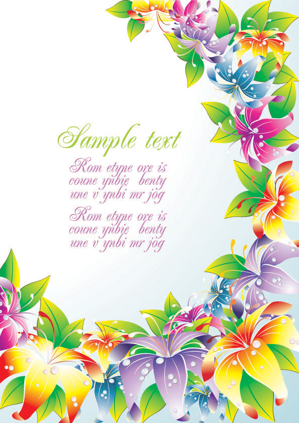 Colorful Flower Card Background Vector Free Vector 4vector