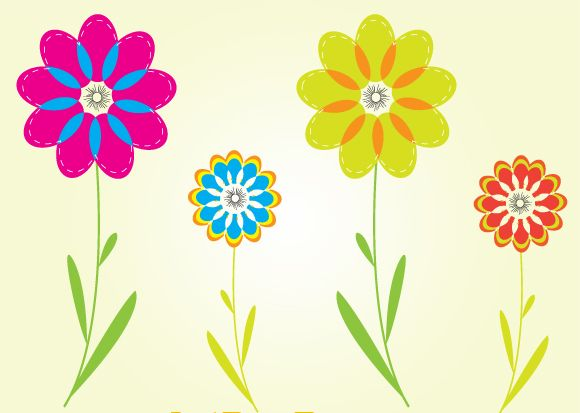 free vector Colorful Flower Vectors