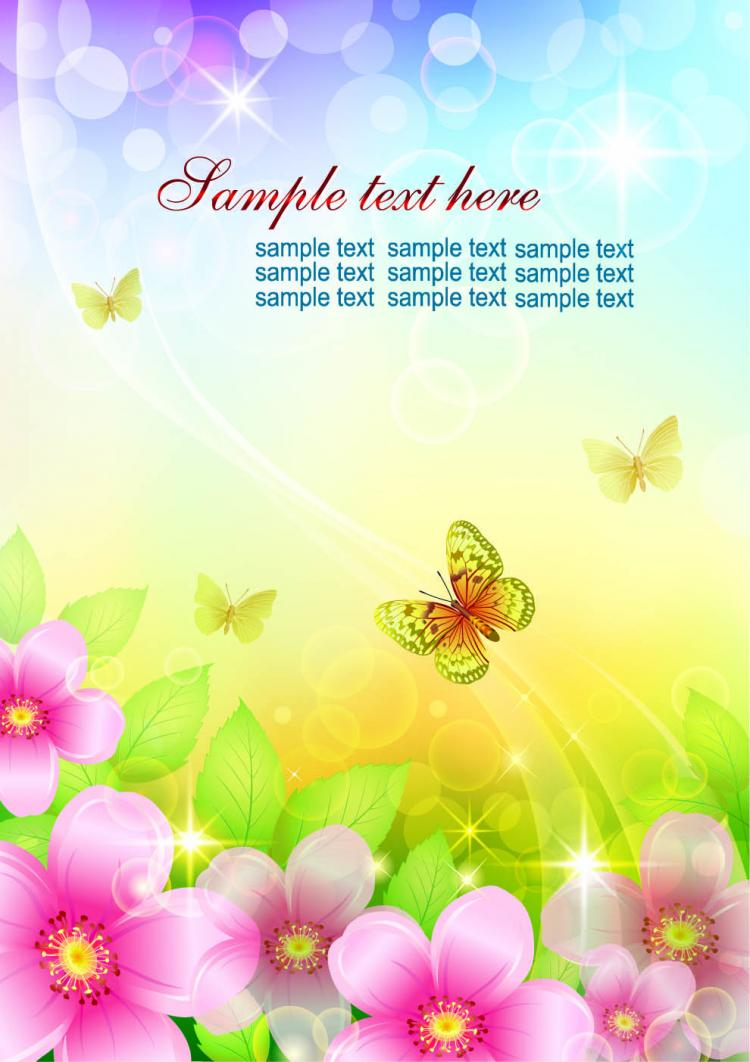 free vector Colorful flowers background 04 vector 20667