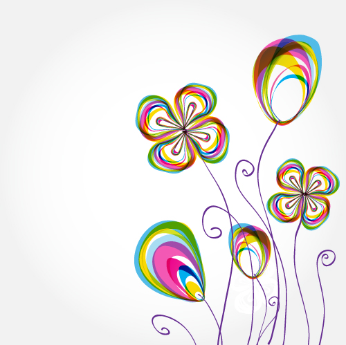 free vector Colorful flowers background pattern 02 vector