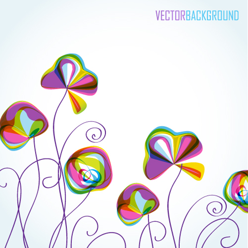 free vector Colorful flowers background pattern 04 vector