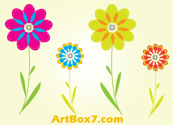 free vector Colorful flowers by ArtBox7.com