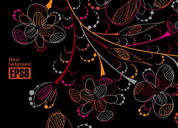 free vector Colorful flowers line draft 05 vector