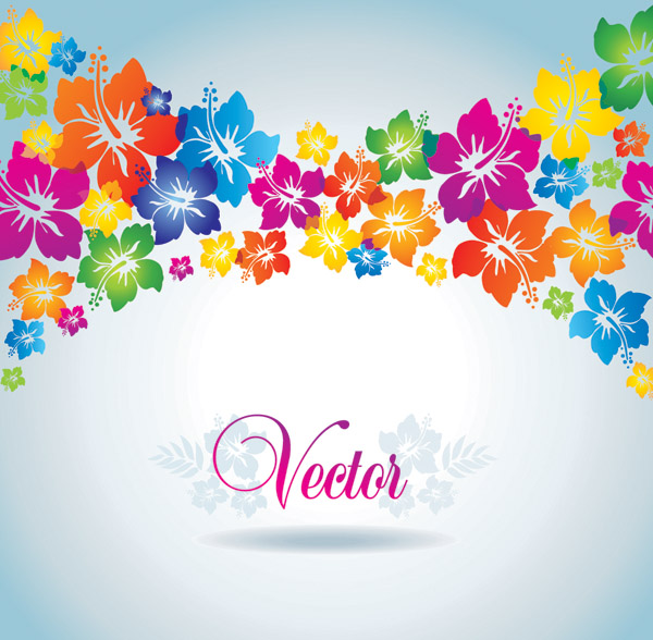 free vector Colorful flowers vector background