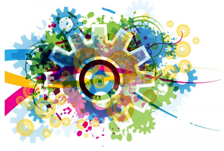 free vector Colorful gears background 04 vector