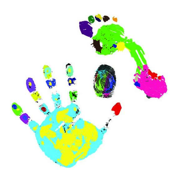 free vector Colorful hand footprints vector