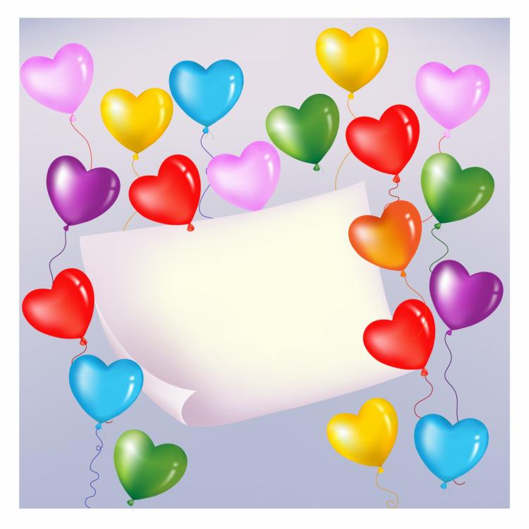 free vector Colorful heart shaped balloons