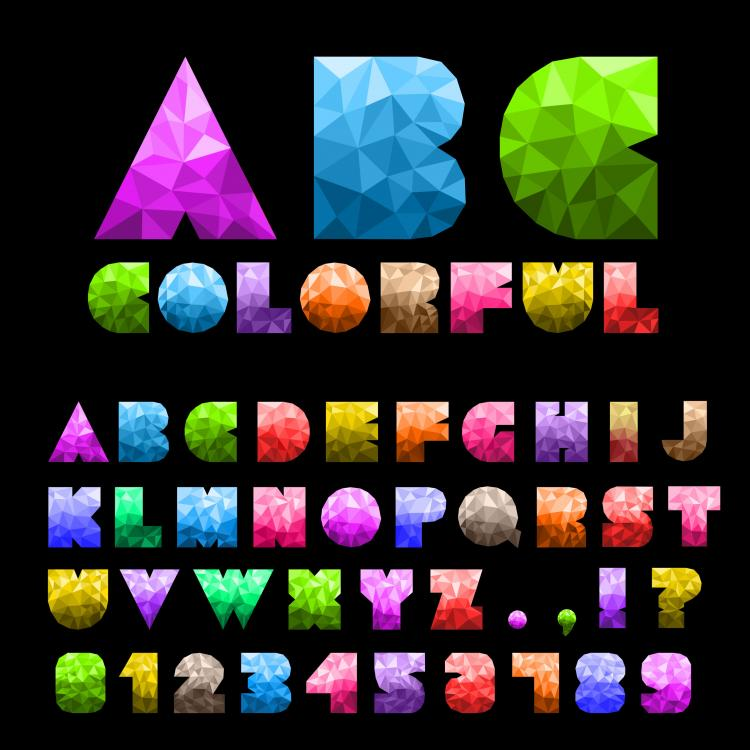 free vector Colorful letters and numbers 01 vector