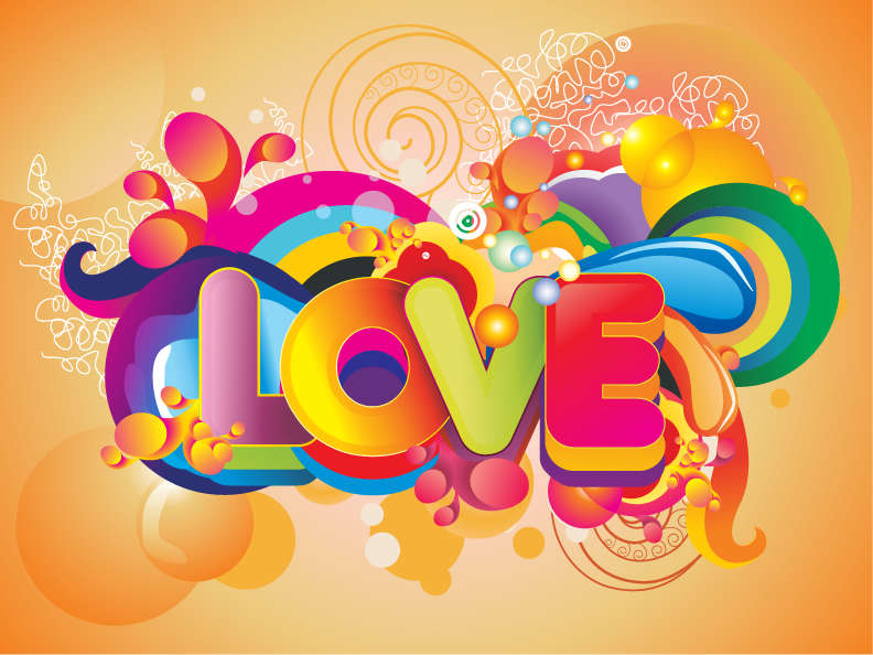 free vector Colorful Love Background Vector Art