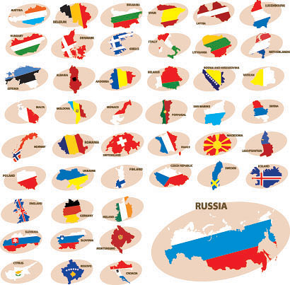 free vector Colorful map silhouette vector 1