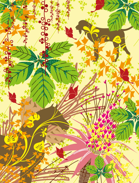 free vector Colorful plants and animals silhouette vector