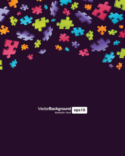 free vector Colorful puzzle pieces theme vector background