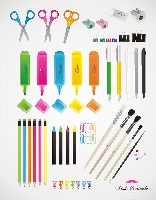 free vector Colorful stationery vector