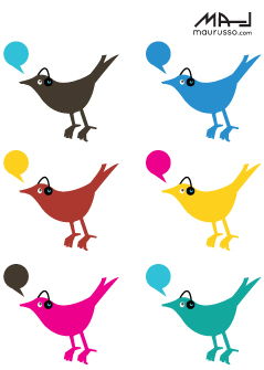 free vector Colorful Twitter Birds