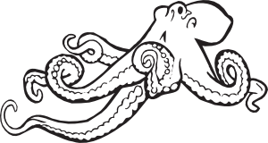 free vector Coloring Book Octopus clip art