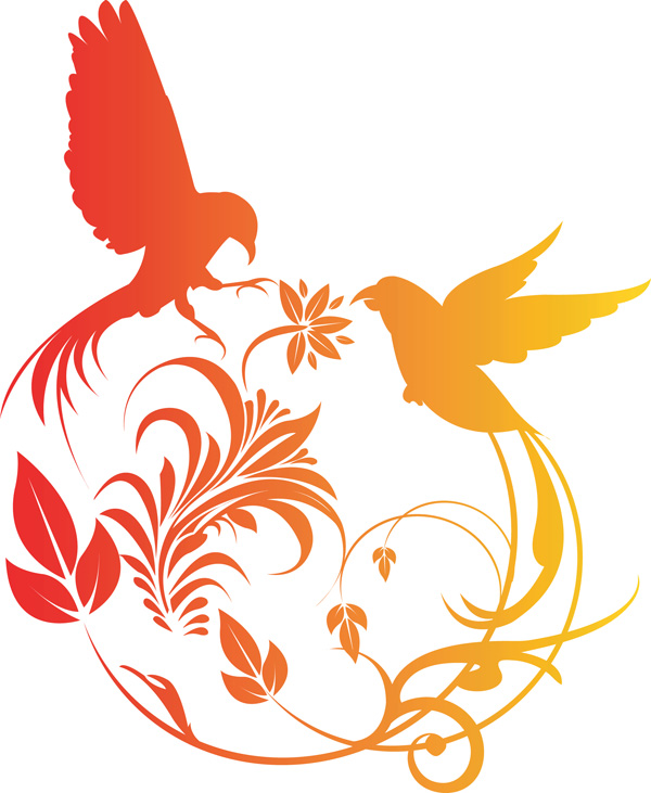 free vector Combination of exquisite bird pattern vector