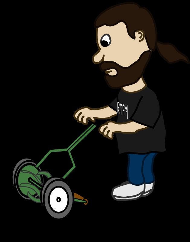 free vector Comic characters: Guy pushing reel mower