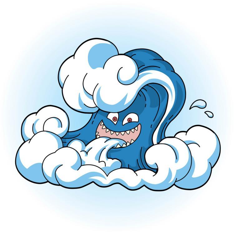 free vector Comic Tsunami Wave Face