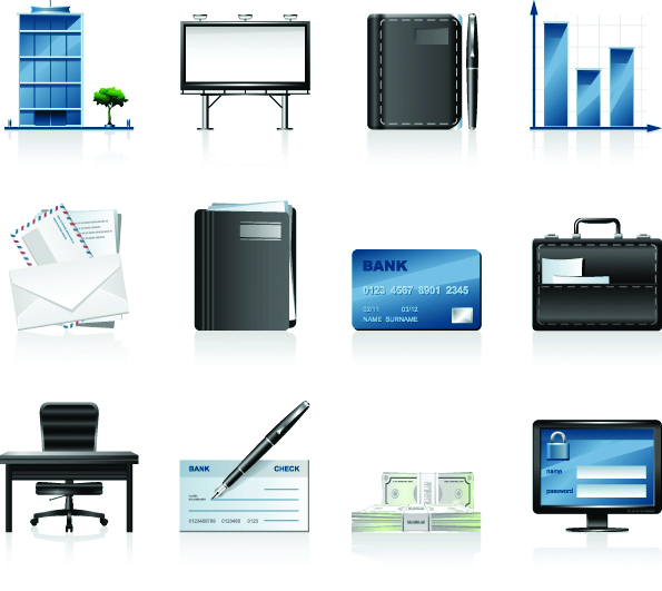 free vector Commercial and financial icon vector