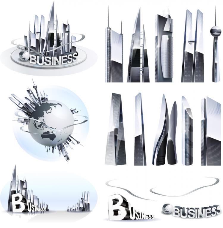 free vector Commercial highrise buildings vector
