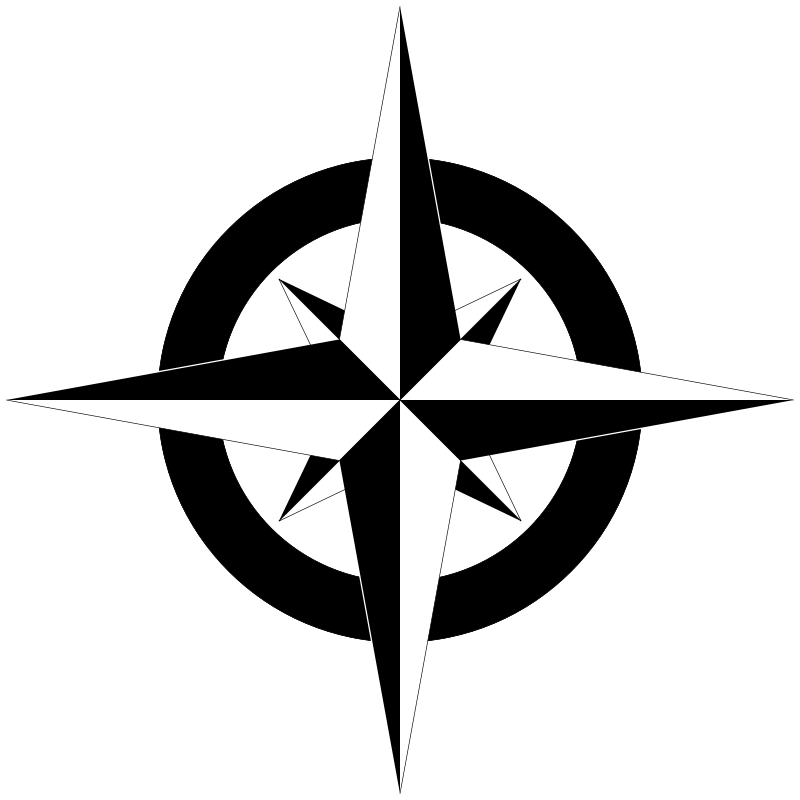 free vector Compass Rose B&W