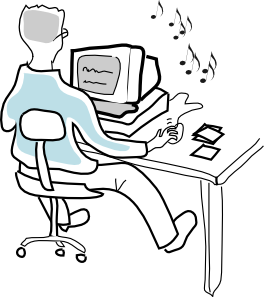 free vector Computer User Burning Music Cds clip art