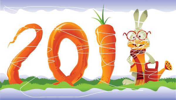 free vector Consisting of rabbit and carrots vector 2011