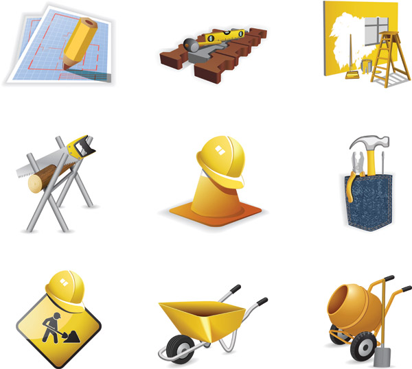 Construction site theme icon vector Free Vector / 4Vector