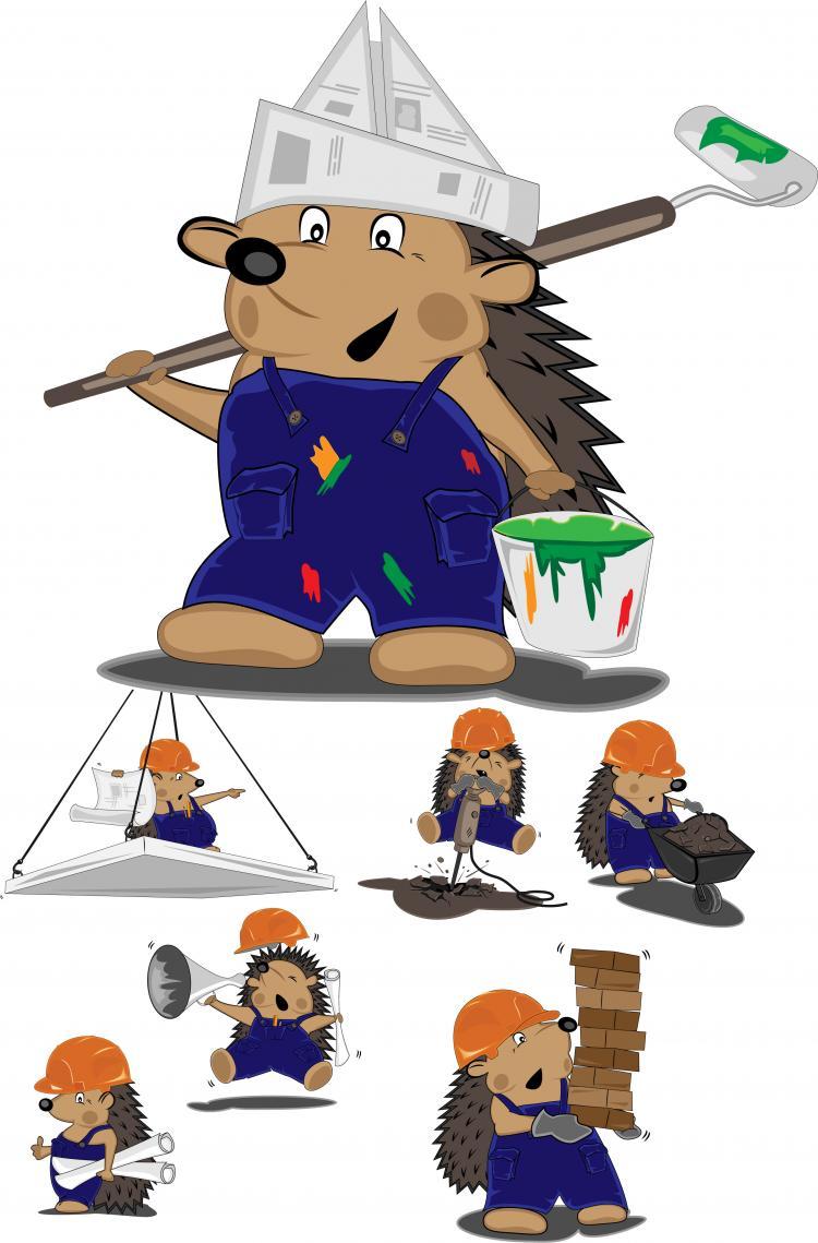 free vector Construction workers vector cute hedgehog