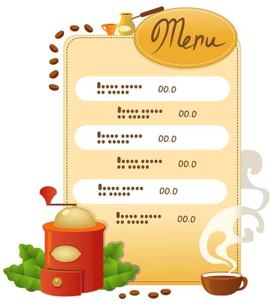 free vector Cook cafe menu vector