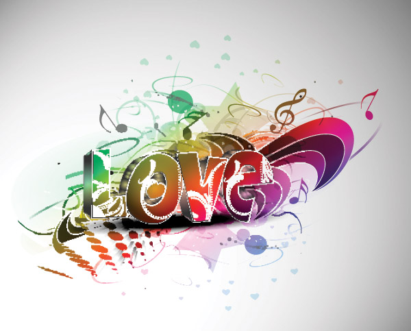free vector Cool threedimensional vector love wordart