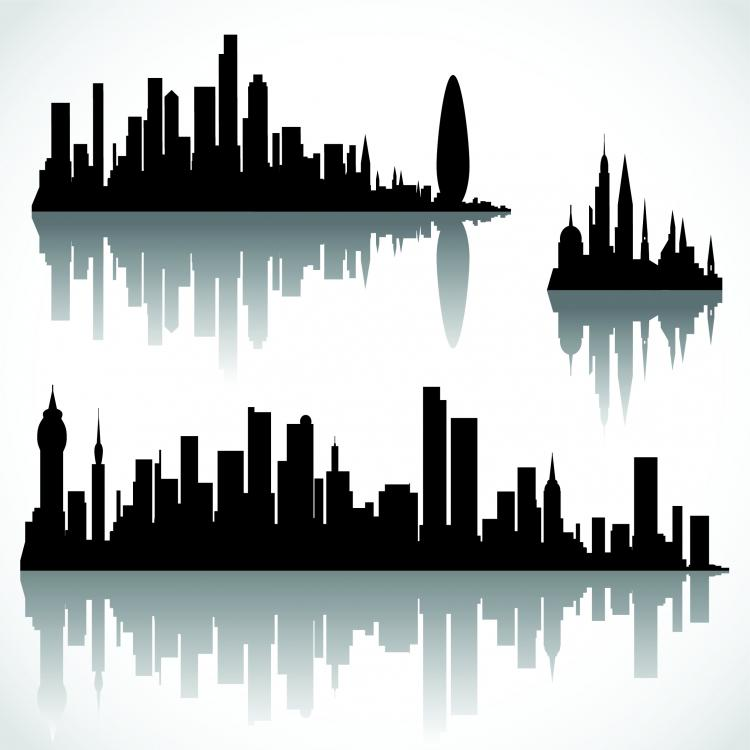 free vector Cool vector silhouette of the city