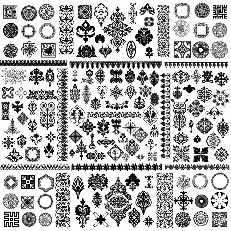free vector Corner conventional black and white classic pattern vector