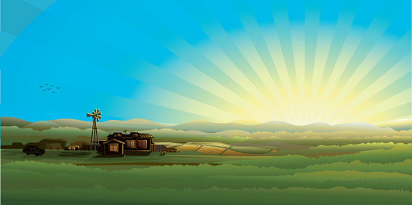 free vector Countryside scenery vector