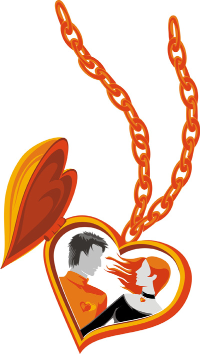 free vector Couple of heartshaped necklace vector