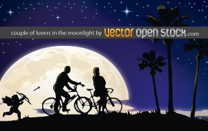 free vector Couple of lovers in the moonlight