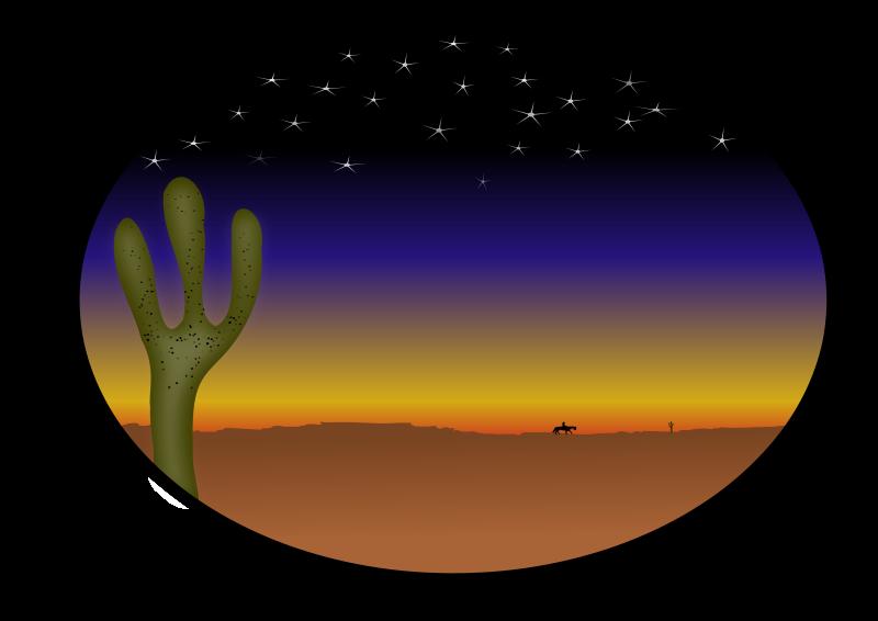 free vector Cowboy sunset