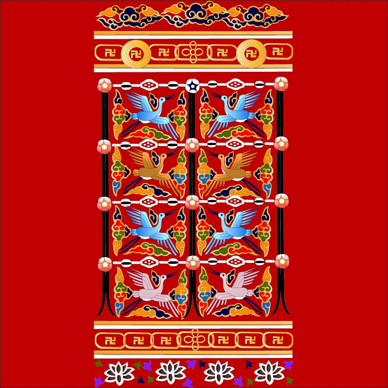 free vector Crane with auspicious chinese classical pattern vector