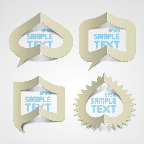 free vector Creative paper folded hollow text template vector 1
