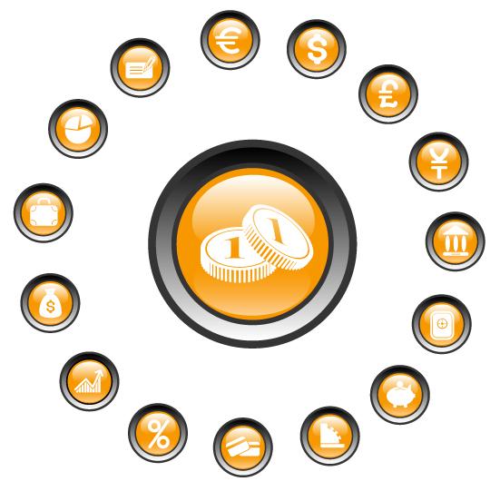 free vector Crystal circular icon vector material