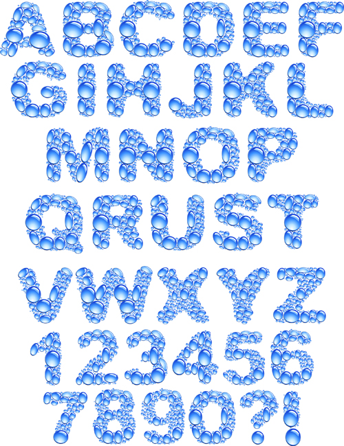 free vector Crystal clear water droplets letters vector
