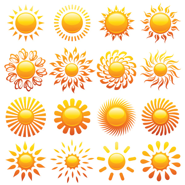 free vector Crystal icon vector of the sun