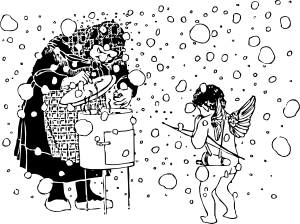 free vector Cupid And The Old Woman clip art