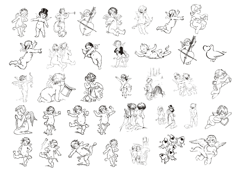 free vector Cupid Line Drawing Cupid