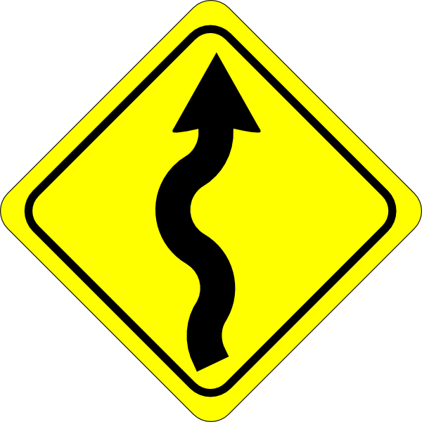 free vector Curvy Road Ahead Sign clip art