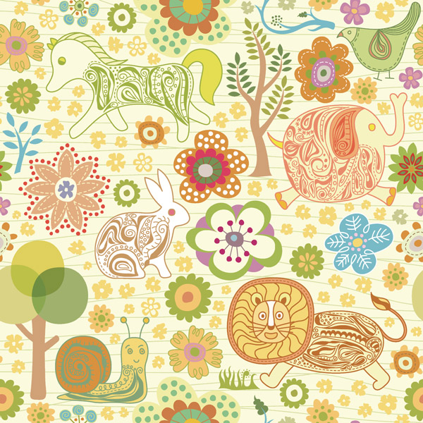 free vector Cute animal flowers vector